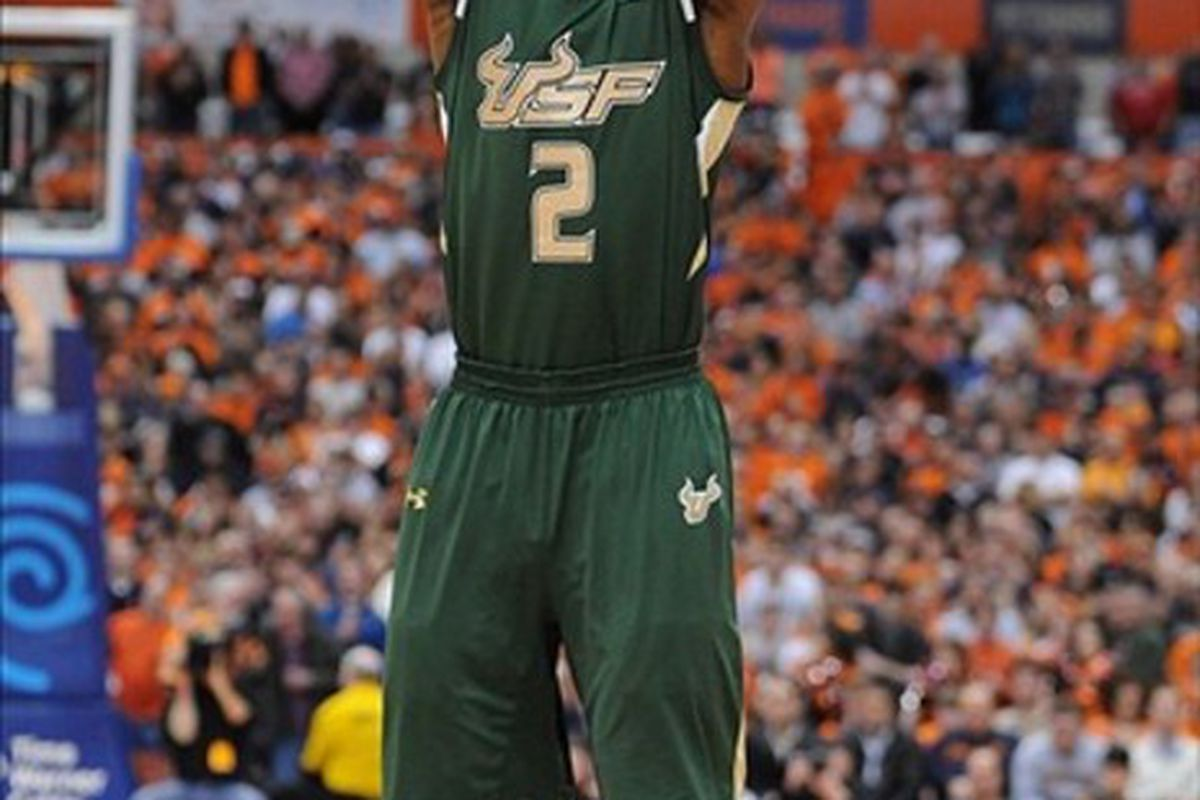 Feb 22, 2012; Syracuse, NY, USA; South Florida Bulls forward Victor Rudd (2) shoots the ball during the first half of a game against the Syracuse Orange at the Carrier Dome.   Mandatory Credit: Mark Konezny-US PRESSWIRE