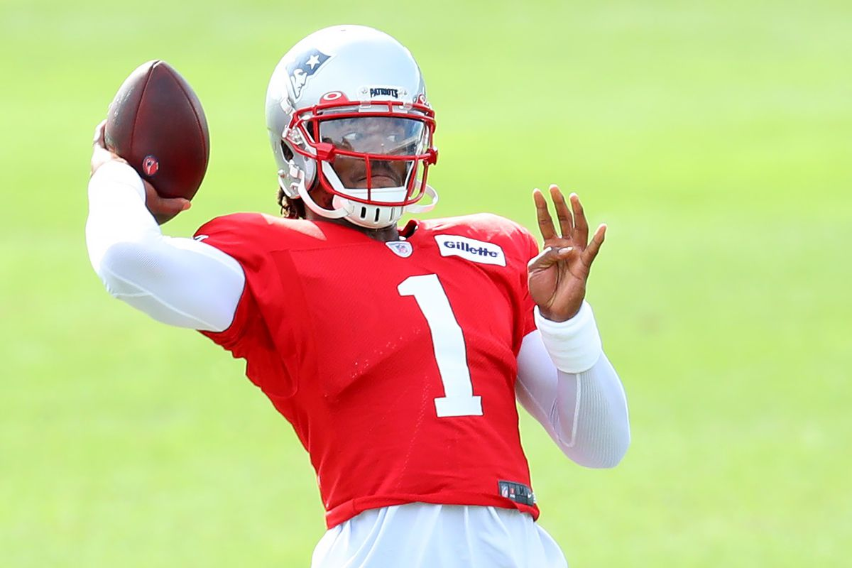 Cam Newton #1 makes a throw during New England Patriots Training Camp at Gillette Stadium on September 01, 2020 in Foxborough, Massachusetts.