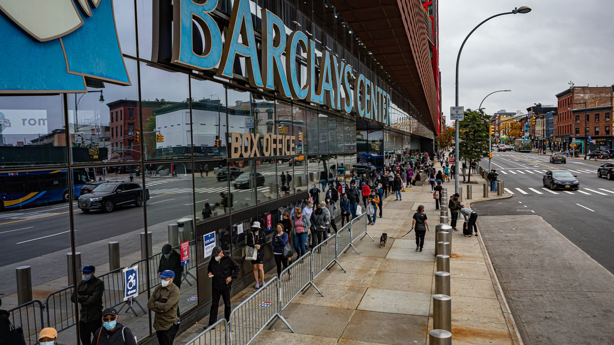 Outside the Barclays Center in Brooklyn, lines stretched for...
