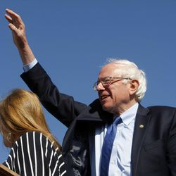 Democratic presidential candidate and Vermont Sen. Bernie Sanders waves to supporters before a speech at This is the Place Heritage Park in Salt Lake City, Friday, March 18, 2016.