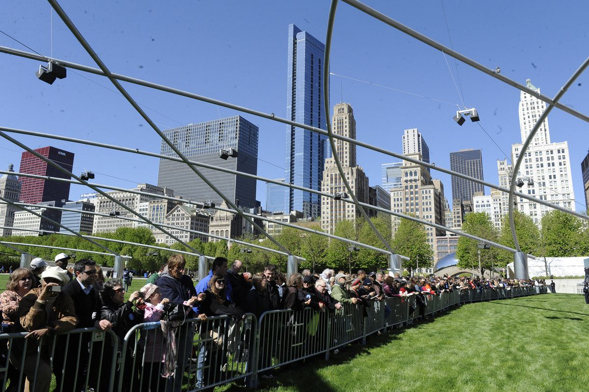 <small><strong>People wait for the start of Mayor Rahm Emanuel's 2011 inauguration at Millennium Park. This year's ceremony will be at the Chicago Theatre. | File Photo</strong></small>