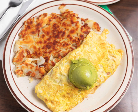 Omelette, coffee, and hash browns at Country Touch Cafe in Torrance, California