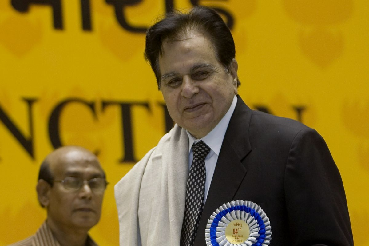 In this Sept. 2, 2008, file photo, veteran Bollywood actor Dilip Kumar receives a Lifetime Achievement award at the 54th National Film Award ceremony in New Delhi, India.
