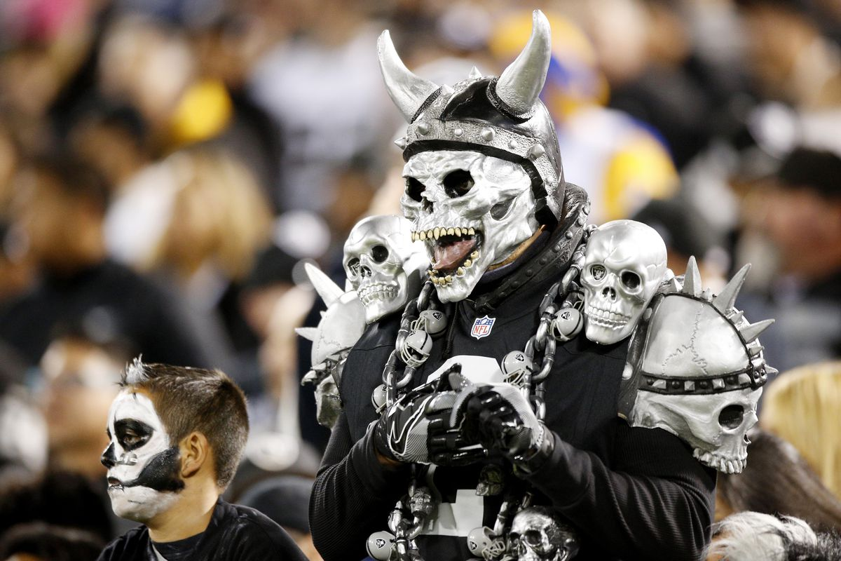A very normally-dressed Oakland Raiders fan at the preseason game between the Raiders and the Los Angeles Rams, August 19, 2017.