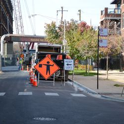 11:30 a.m. More utility work taking place on Waveland Avenue. This is the view looking west -