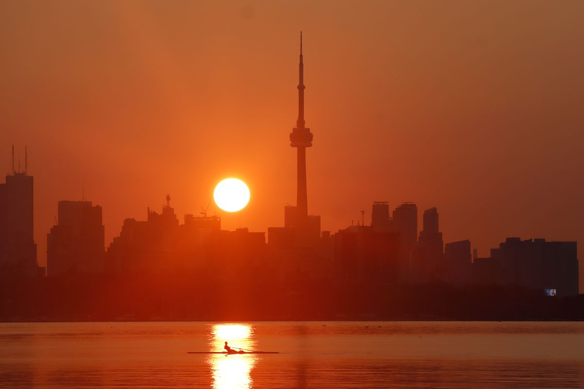 Sunrise Behind the CN Tower in Toronto, Canada