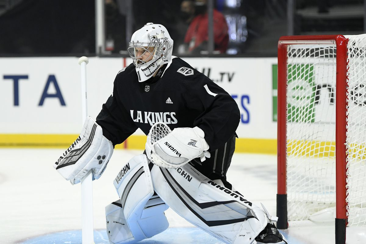 Troy Grosenick #1 of the Los Angeles Kings warms up before the season opening game against the Minnesota Wild at Staples Center on January 14, 2021 in Los Angeles, California.