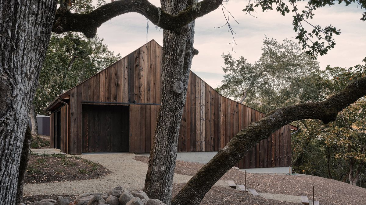 Timber clad house on two levels.