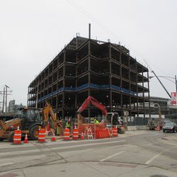 The plaza building as viewed from Clark & Waveland. Also note the street excavation -