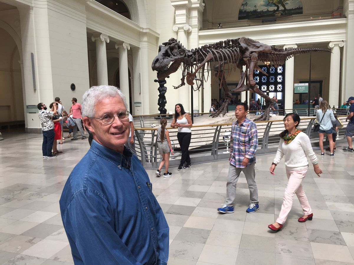 William Simpson, a Field Museum paleontologist, said he is excited by the opportunity to move SUE, the museum's famed T-rex, into a new, smaller exhibit space on the second floor.   Mark Brown/Sun-Times