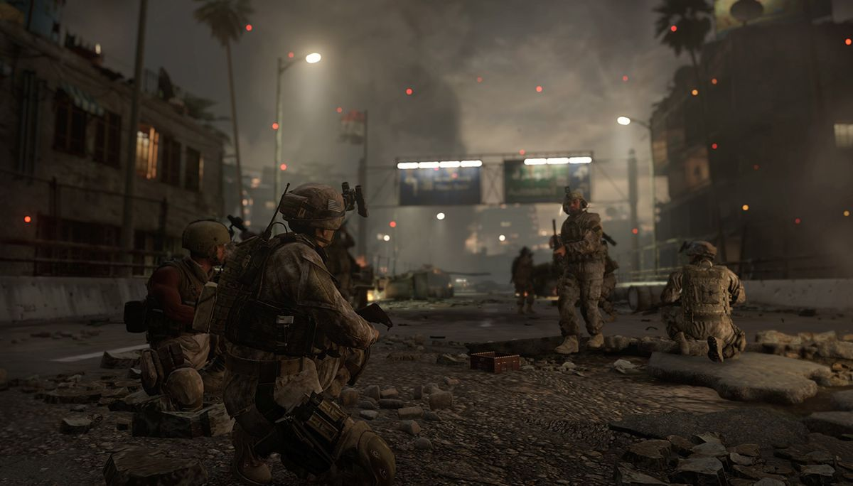 Call of Duty: Modern Warfare Remastered - soldiers on a city street during 'The Bog'