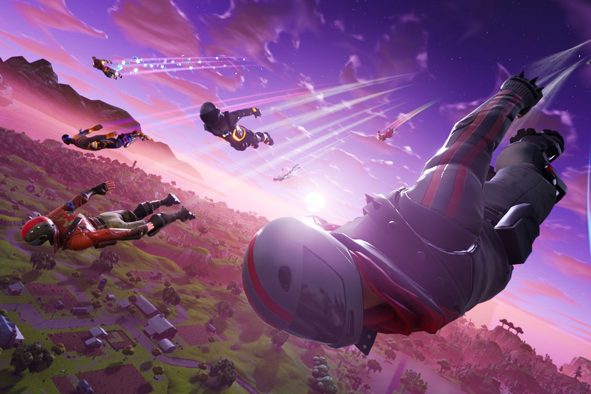 players dropping into Fortnite Battle Royale