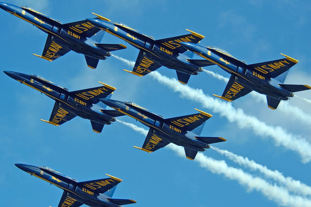 """Image via <a href=""""http://commons.wikimedia.org/wiki/File:US_Navy_041106-N-9490W-016_The_U.S._Navy_flight_demonstration_team,_the_Blue_Angels,_fly_in_a_pyramid_formation_at_the_Blue_Angels_in_Paradise_Air_Show_held_on_board_Naval_Air_Station_Key_Wes"""