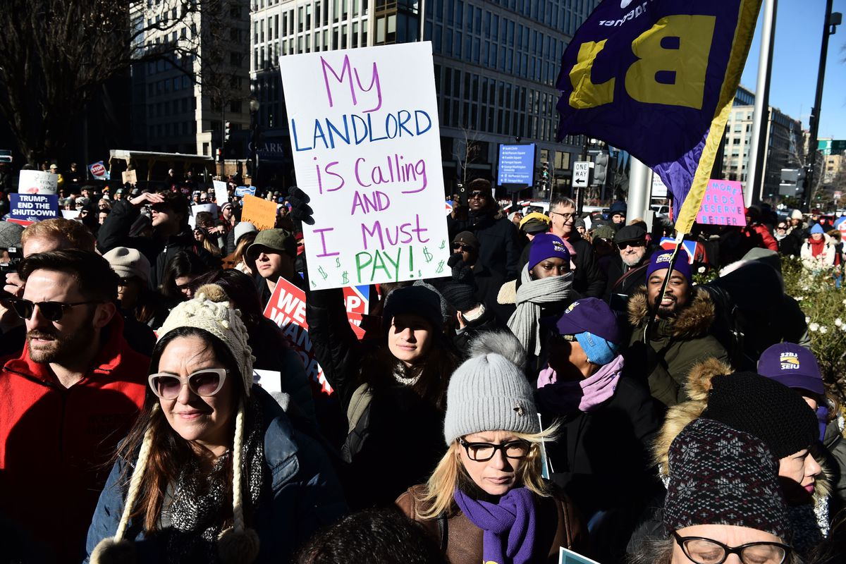 Union workers demonstrate Jan. 10 in Washington, D.C., against the partial shutdown of the federal government.