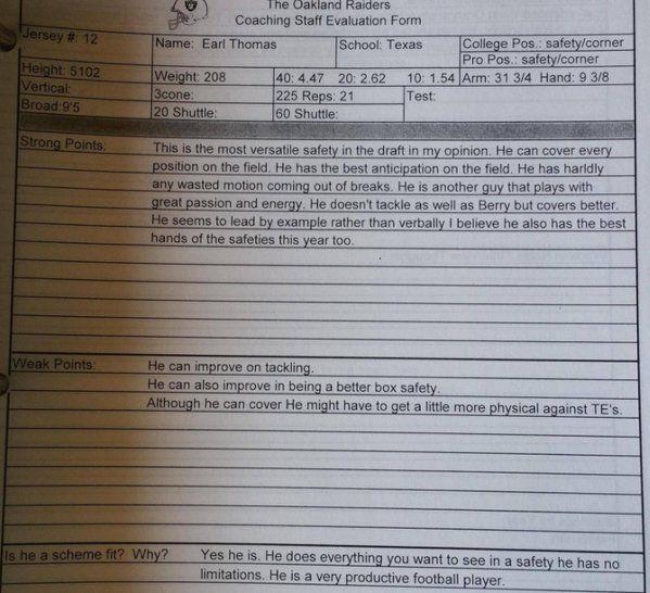 Earl Thomas Raiders draft eval