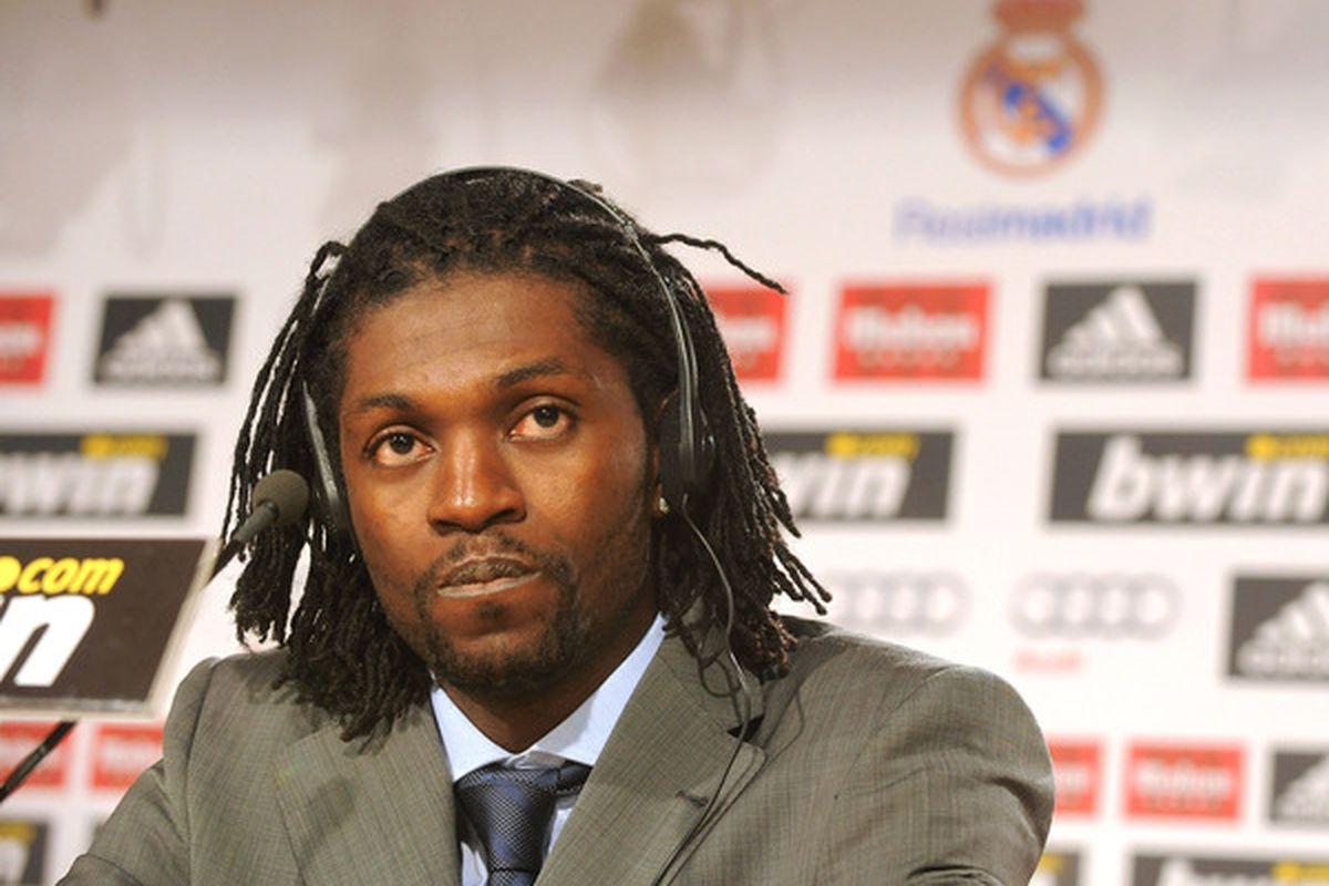 MADRID SPAIN - JANUARY 27:  Emmanuel Adebayor holds a news conference during his  presentation as a new Real Madrid player at Estadio Santiago Bernabeu on January 27 2011 in Madrid Spain.  (Photo by Denis Doyle/Getty Images)