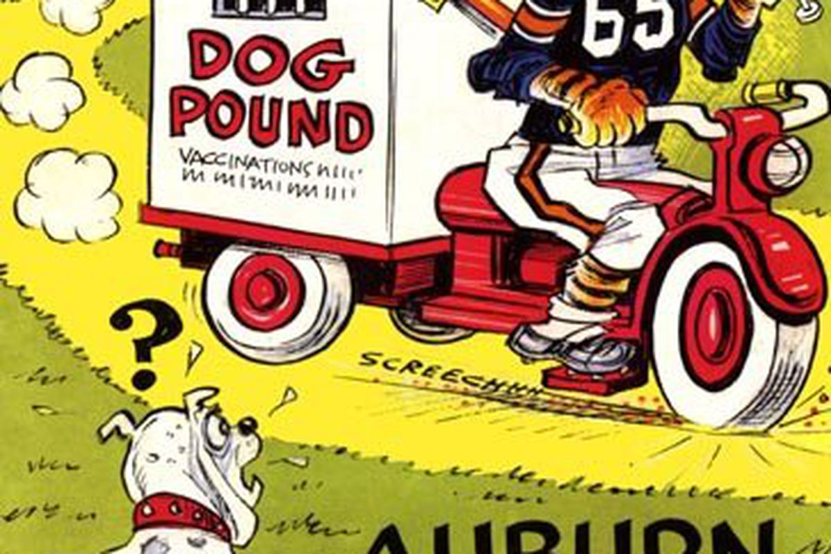 Phil Neel's Aubie the Tiger appeared on many Auburn football programs over the years.This one is from the November 6,1965 game against Mississippi State.