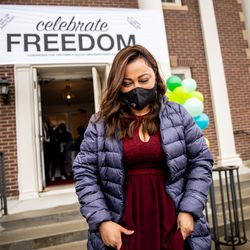 Vicky Chavez leaves the First Unitarian Church of Salt Lake City on Thursday, April 15, 2021. Chavez left the church, where she has spent more than three years living in sanctuary, after receiving a one-year stay of removal.