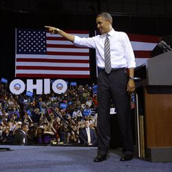 President Barack Obama points to supporters before speaking at a campaign event at Kent State University, Wednesday, Sept. 26, 2012 in Kent, Ohio.