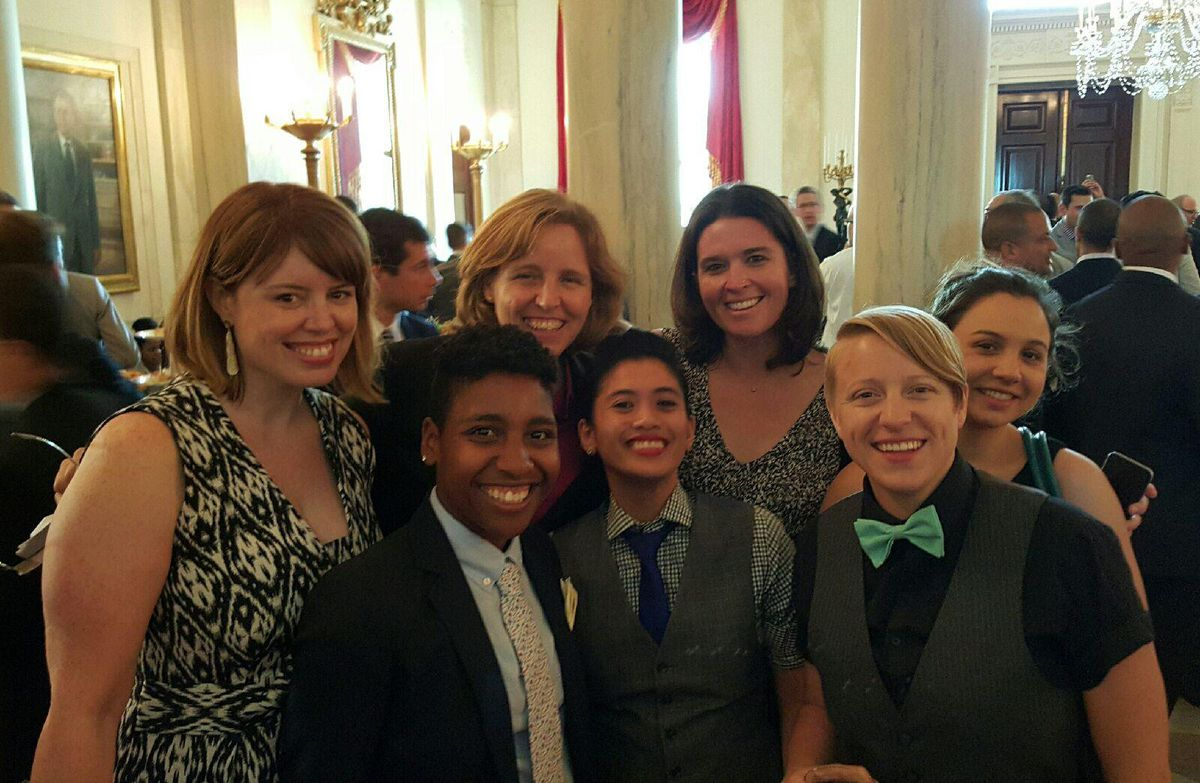 Some of the many techies at this year's White House LGBT Pride Reception pose with U.S. Chief Technology Officer Megan Smith (in middle of back row).
