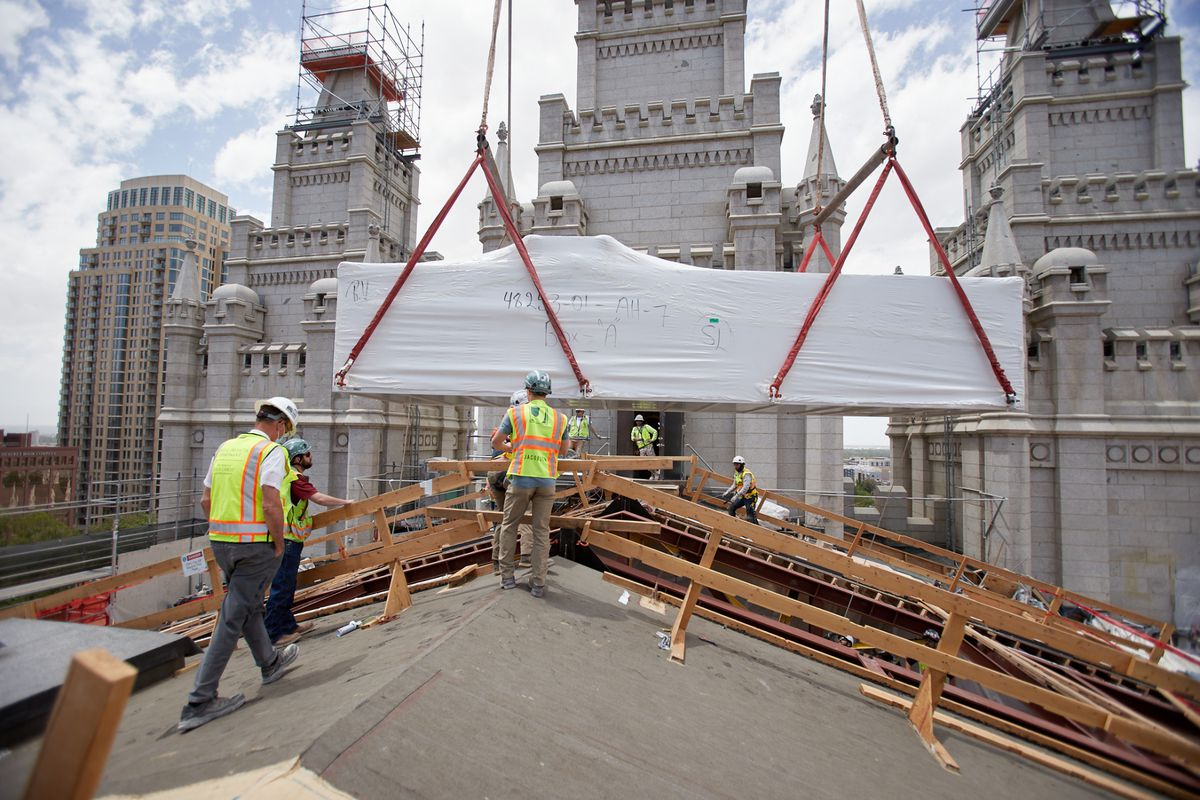 New trusses are placed to reinforce the attic of the Salt Lake Temple.