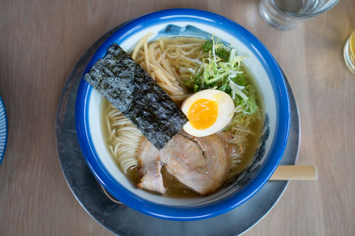 A ramen bowl at Afuri with a soft-boiled egg, chashu pork, and a piece of nori