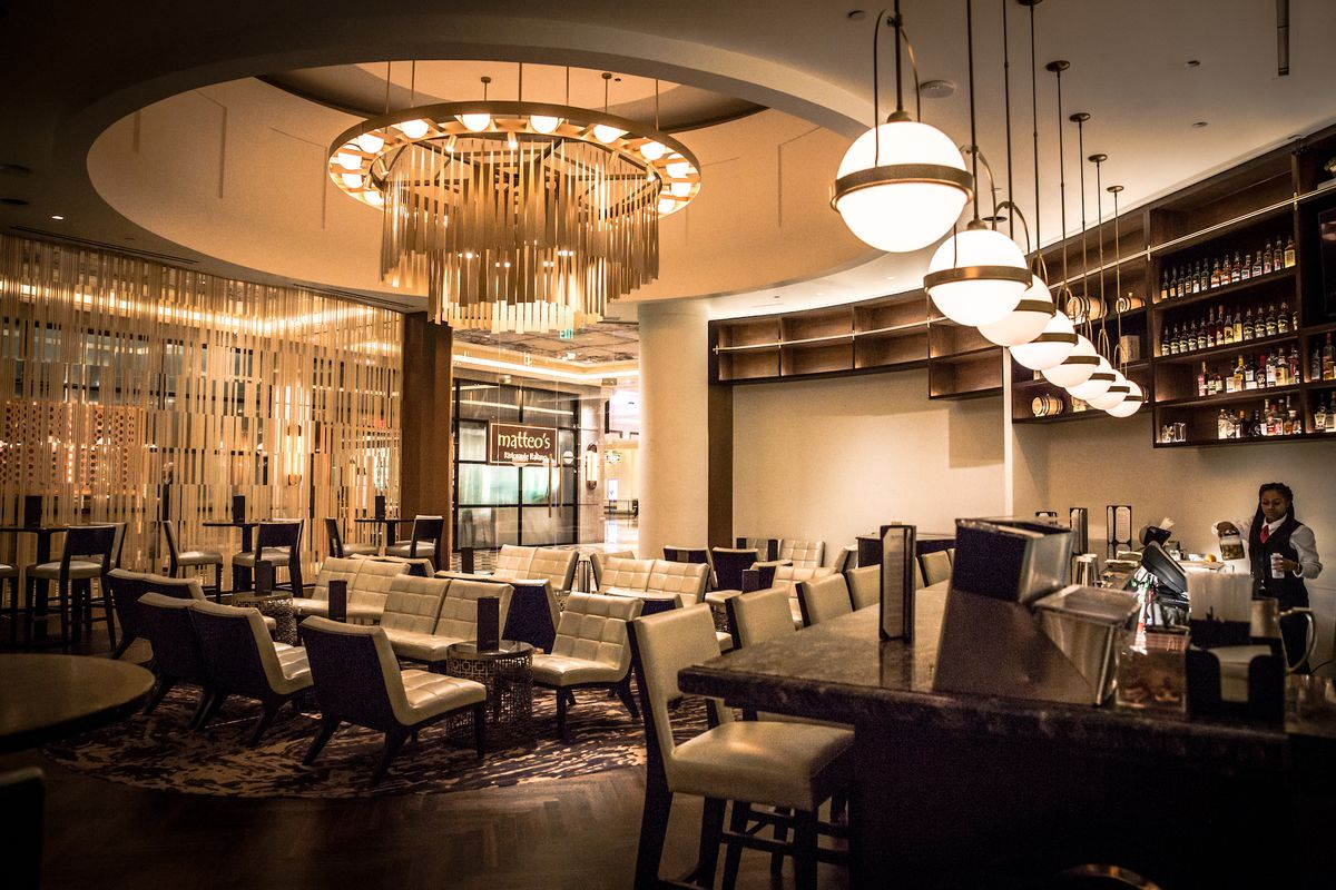 The renovated lounge at Delmonico Steakhouse