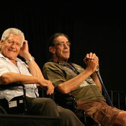 David Prowse (left) and Peter Mayhew (right) spoke at Salt Lake Comic Con Thursday afternoon.