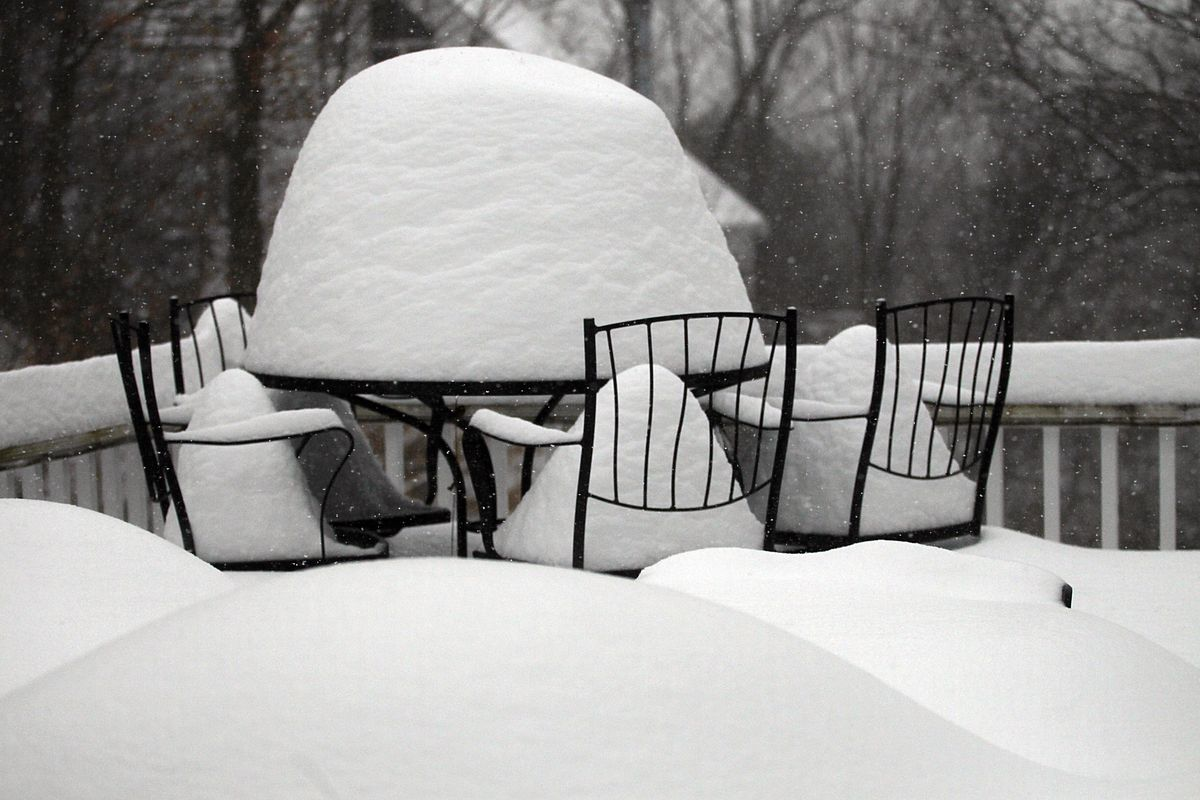 A Newton patio is out of commission with snow, and it seems like a long time until Boston area residents will be dining al fresco.