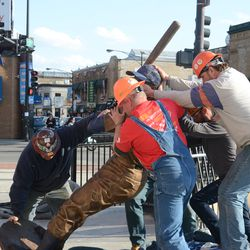 5:15 p.m. Ernie Banks statue being lifted (This is my favorite!) -