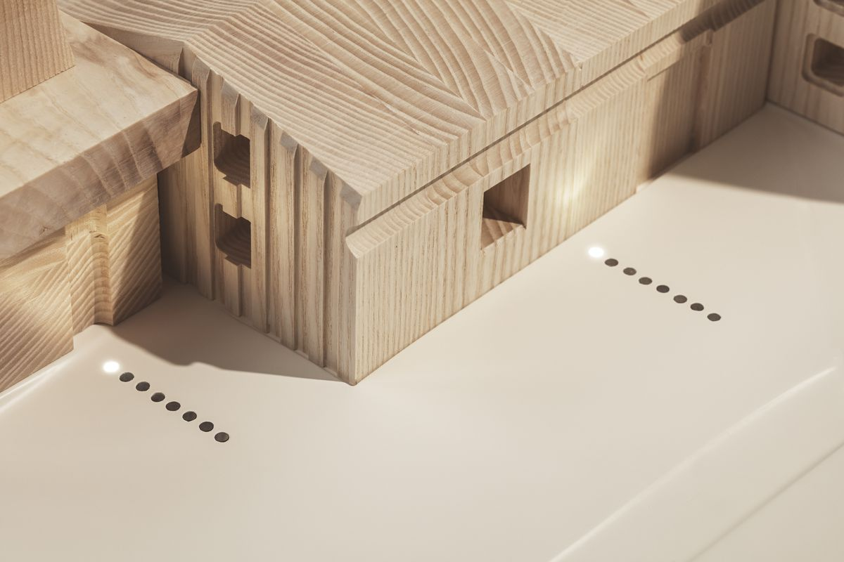 Close up of wooden buildings