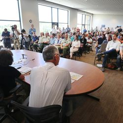 Interior Secretary Sally Jewell, speaks at a meeting in Monticello as she visits Canyon country in Southern Utah on Thursday, July 14, 2016. During her trip to the region, she said she was shocked by the lack of protection for Native American cultural sites. Today, President Barack Obama declared the Bears Ears National Monument in southeast Utah.