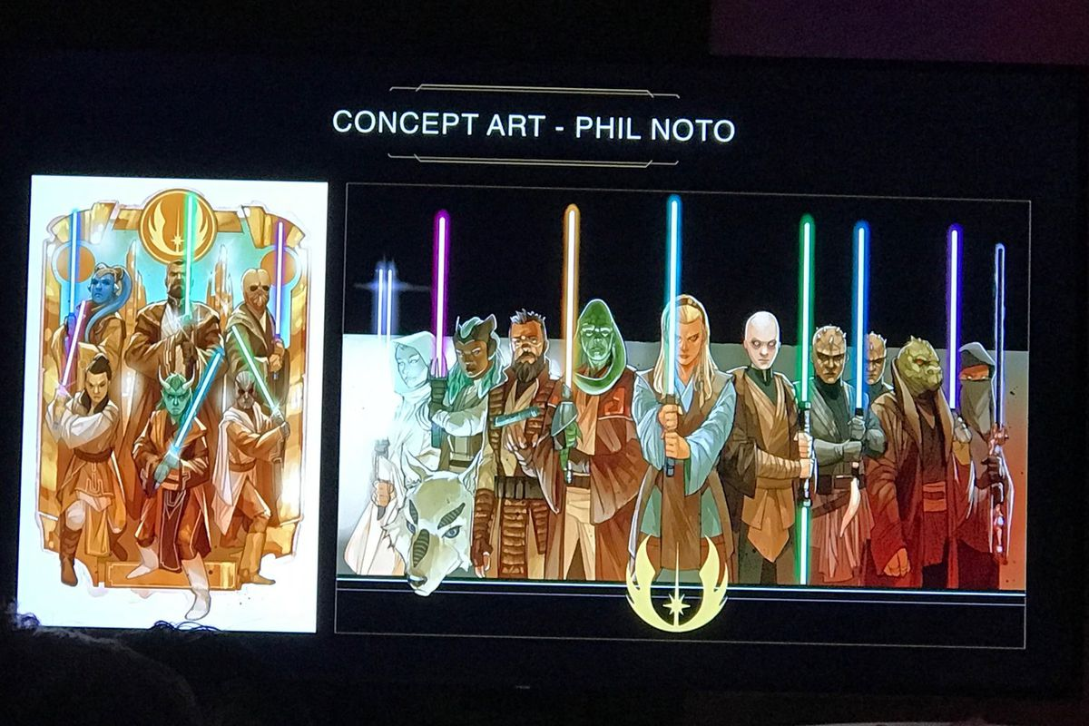 a photo of a slide showing Star Wars: High Republic concept art by Phil Noto