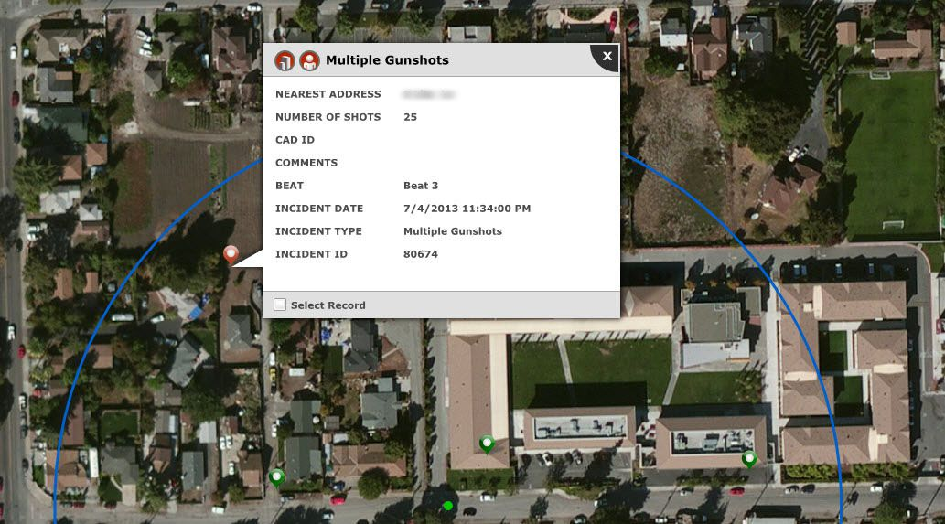 An example of a ShotSpotter report of gunfire with an aerial view.   SST, Inc.