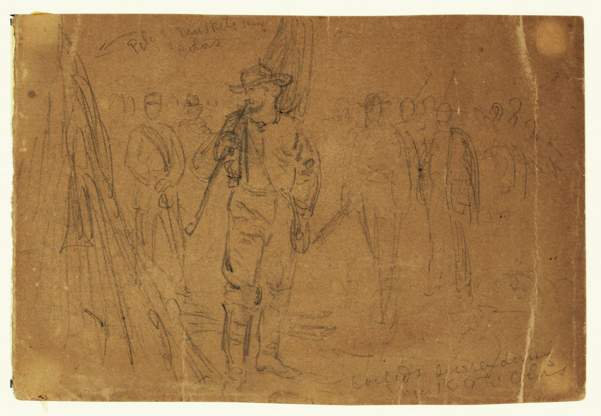 Confederate forces surrendering their muskets and colors.