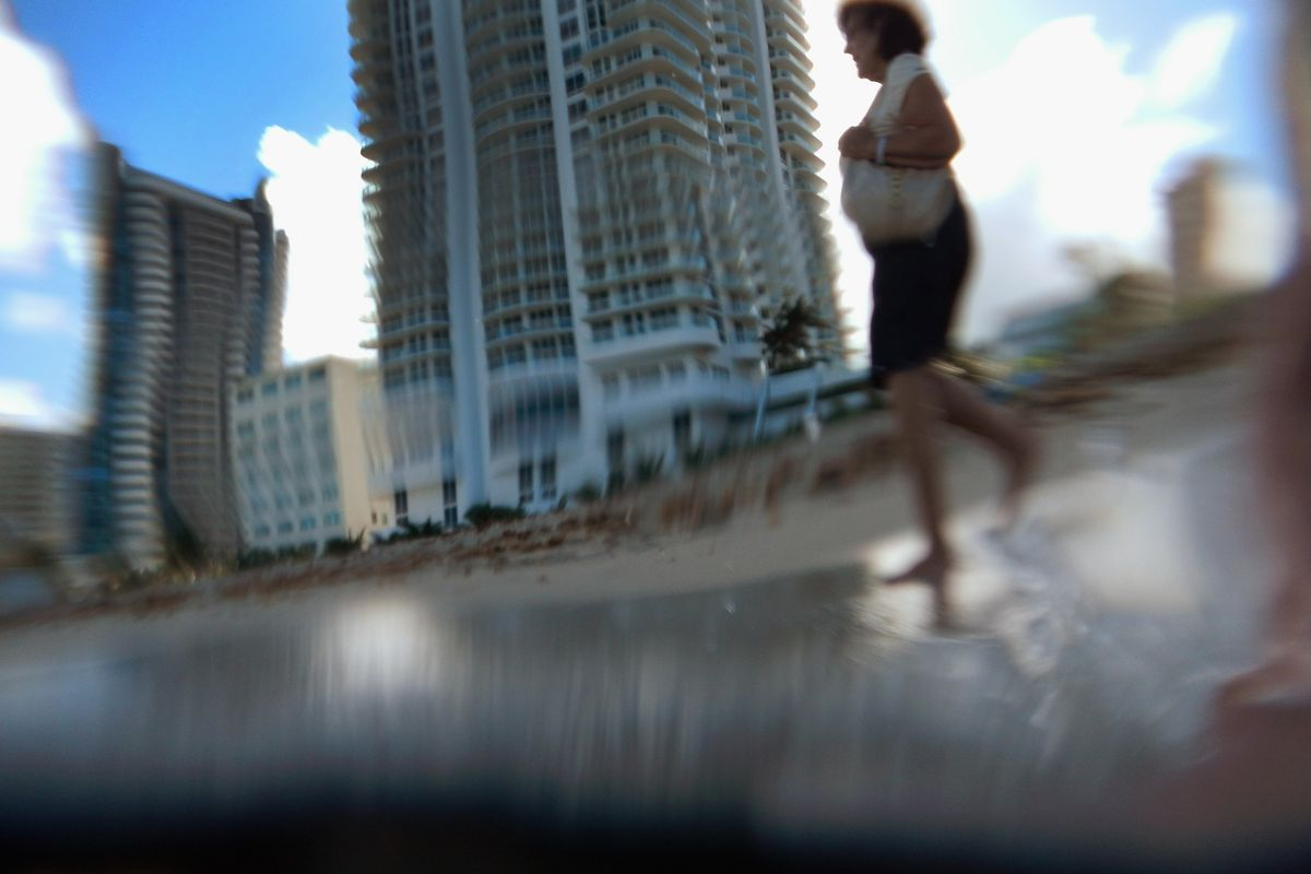 Buildings are seen on Miami Beach through an underwater camera in the ocean as reports indicate that Miami-Dade County in the future could be one of the most susceptible places when it comes to rising water levels due to global warming.