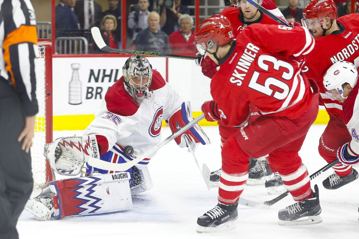 Rookie goalie Charlie Lindgren makes save against Jeff Skinner in his NHL debut
