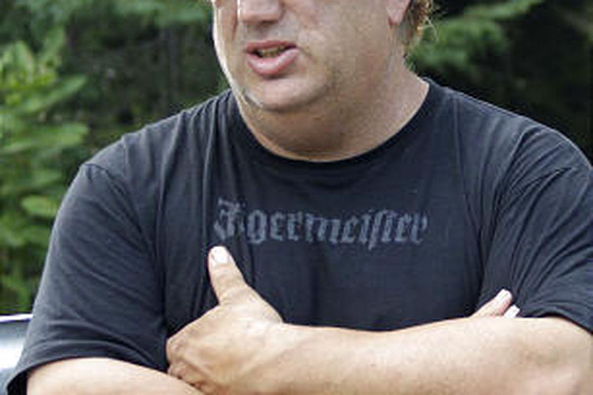 Sam Mazzola talks about bear victim Brent Kandra outside Mazzola's exotic animal sanctuary.