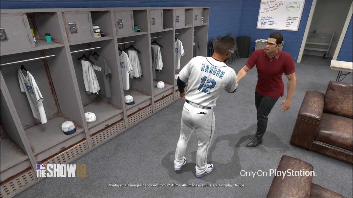 MLB The Show 18 - created player shaking hands in the locker room in Road to the Show