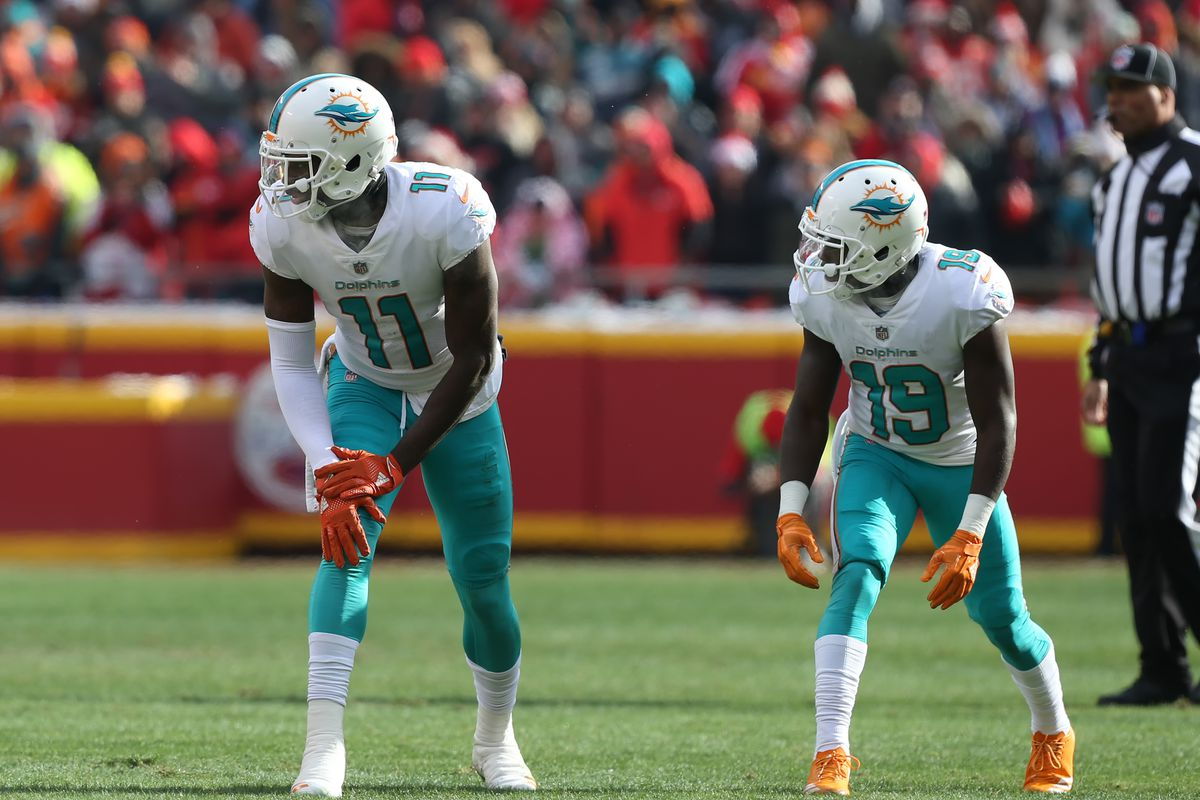 Miami Dolphins wide receivers DeVante Parker (11) and Jakeem Grant (19) at the line of scrimmage in the first quarter of a week 16 NFL game between the Miami Dolphins and Kansas City Chiefs on December 24, 2017 at Arrowhead Stadium in Kansas City, MO.