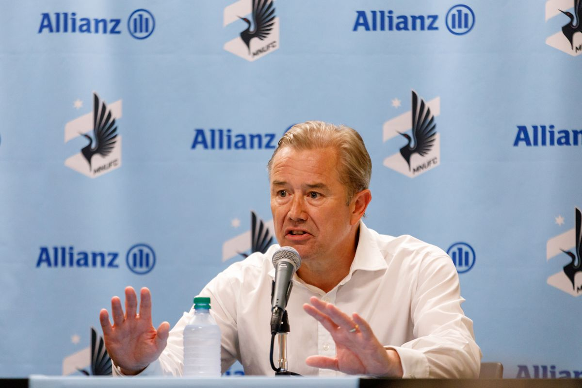 July 14, 2018 - Minneapolis, Minnesota, United States - Minnesota United head coach Adrian Heath is left frustrated with the collapse of his players during post match press conference after Minnesota United defeated Real Salt Lake 3-2 at TCF Bank Stadium.   (Photo by Seth Steffenhagen/Steffenhagen Photography)
