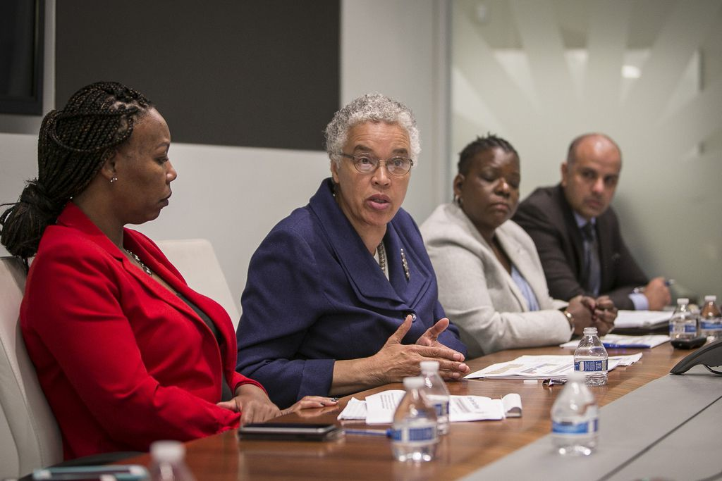 From left, Chief of Staff Lanetta Haynes Turner, County Board Toni Preckwinkle, Budget Director Tanya Anthony and Chief Financial Officer Ammar M. Rizki.