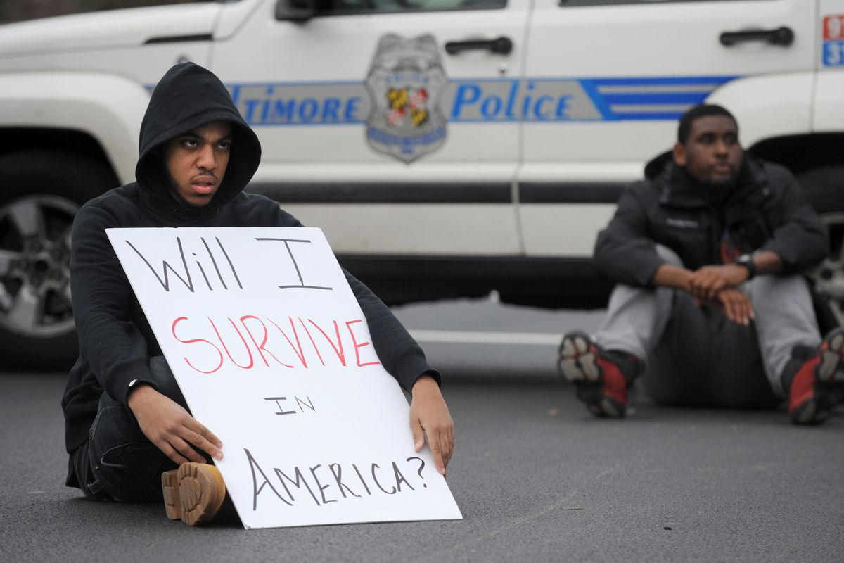 Black Lives Matter protesters in Baltimore.