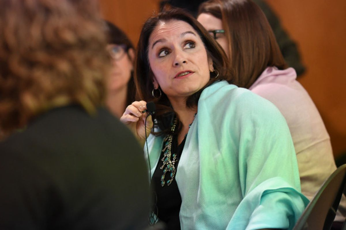 Denver Public Schools Superintendent Susana Cordova at the negotiating table on the third day of the teacher strike.