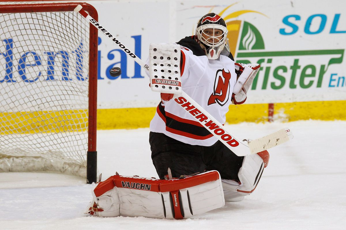 A picture of tonight's starting goaltender, making a save in the Red-White scrimmage