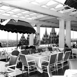 In earlier years, Hotel Utah's Roof Garden had no roof but a retractable awning for balmy days.