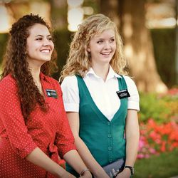 Sister missionaries at Temple Square.