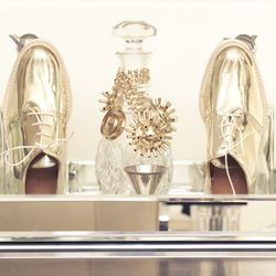 """<a href=""""http://www.thecoveteur.com/whitney_port""""target=""""_blank"""">Whitney Port</a>'s metallic Zara shoes."""