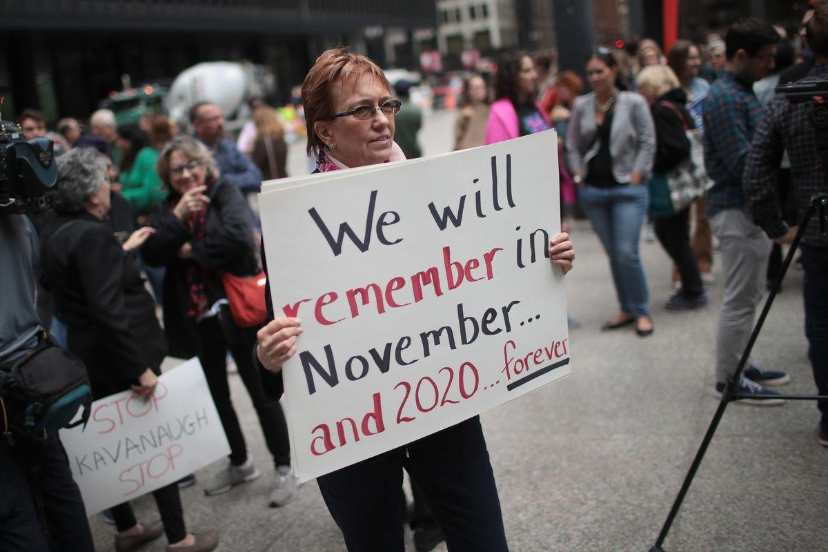 Activists Demonstrate Against Supreme Court Nominee Brett Kavanaugh In Chicago