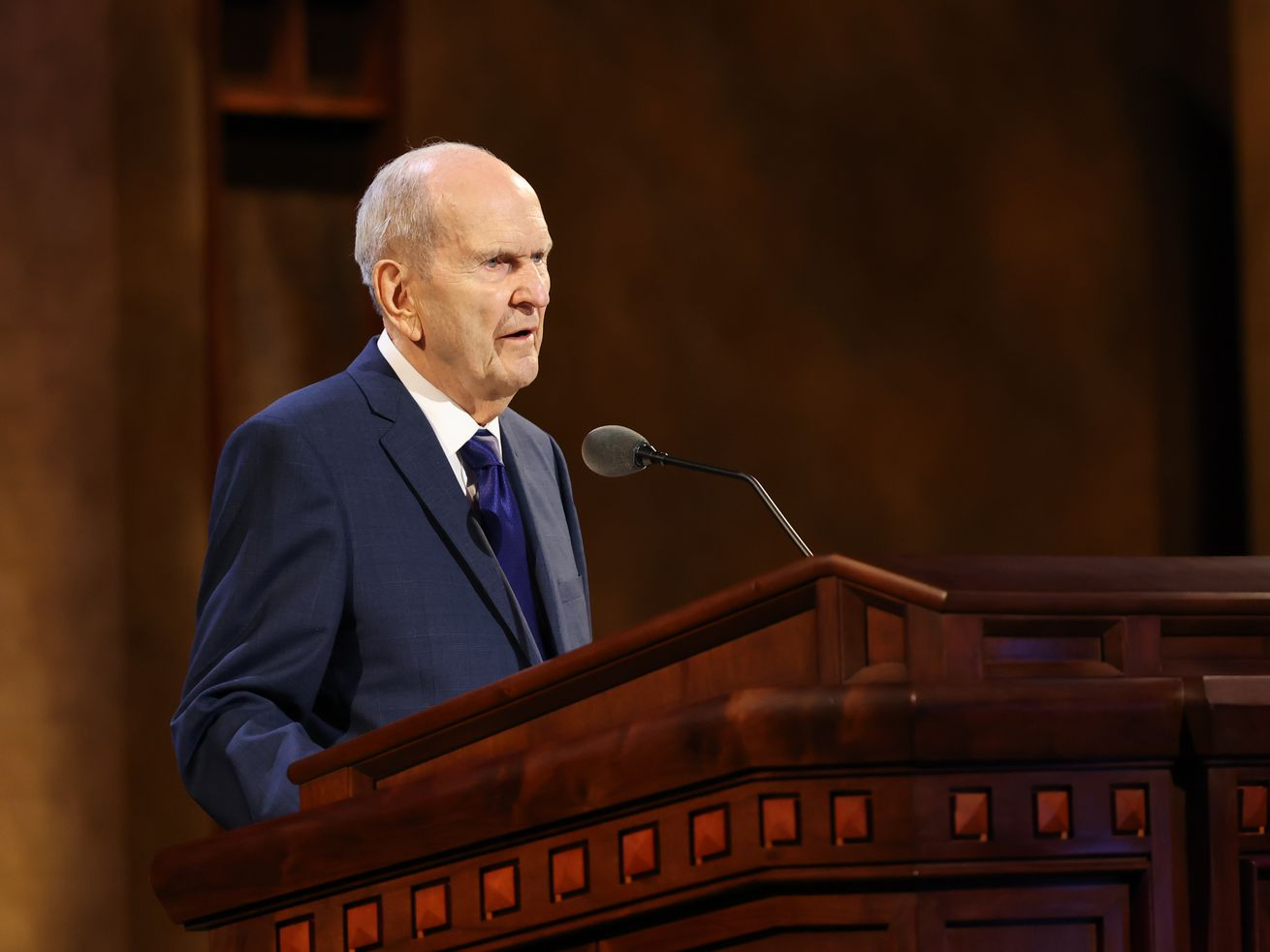 President Russell M. Nelson speaks during the Sunday afternoon session of the 191st Annual General Conference of The Church of Jesus Christ of Latter-day Saints in Salt Lake City on April 4, 2021.
